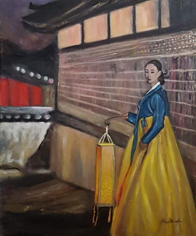 La femme à la lanterne (The woman with the lantern) – acrylique