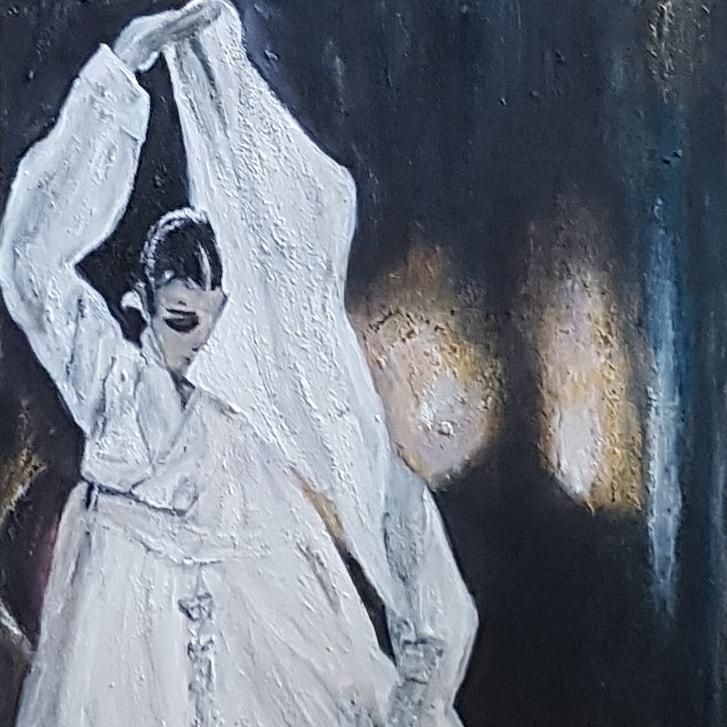 Peinture coréenne la voie du mystère la femme cachée derrière son voile, Korean painting the way of mystery the woman hidden behind her veil