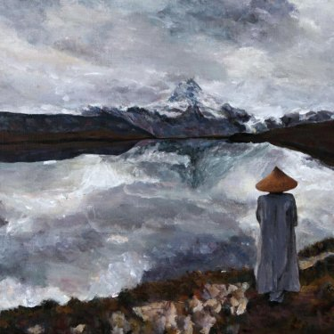The Monk at the mountain – acrylic, 50×40 cm (2013)