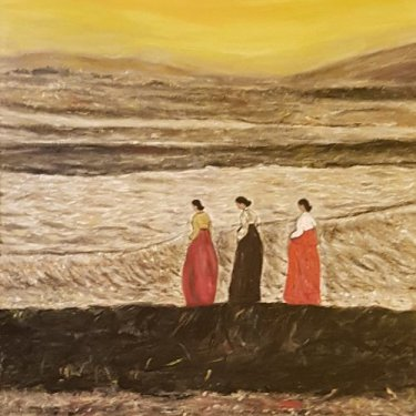 106 The three women at the sunset, acrylic, 50×70 cm (2018)