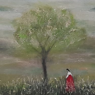 The lonely woman, acrylic, 25×25 cm (2021)