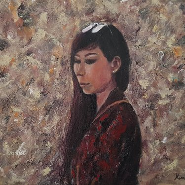 The young woman in her thoughts … – acrylic, 40×30 cm (2020)