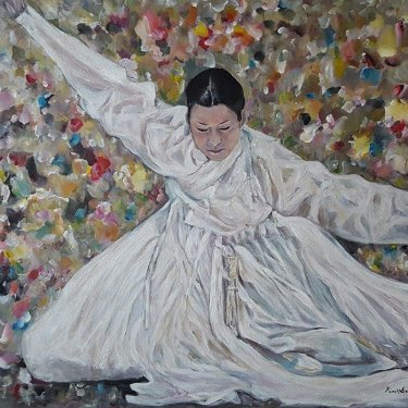 The dancer among the flowers – acrylic, 80X60 cm (2015)