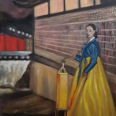 The woman with the lantern – acrylique, 45×55 cm (2019)