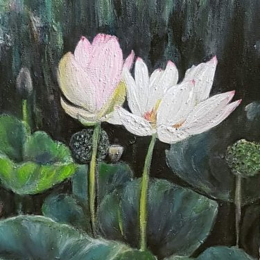 The lotus flowers in all singularity – acrylic, 25X30 cm (2020)