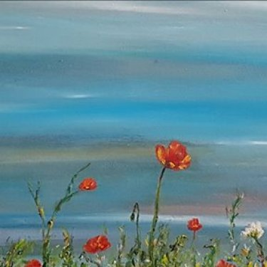 Poppies at the horizon – oil, 90×30 cm (2017)