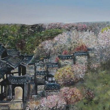 Traditional village – acrylic, 80×40 cm (2014)