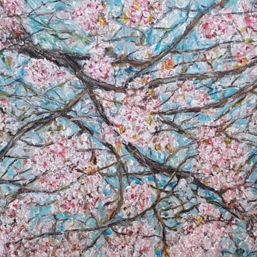 The Cherry Blossoms, acrylic, 45×35 cm (2019)