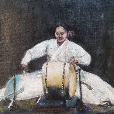 The musician playing the Korean drum – acrylic, 25×25 cm (2020)