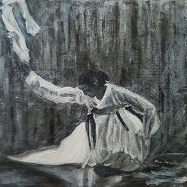 The lady with the white scarf, in the night … – acrylic, 25×25 cm (2020)