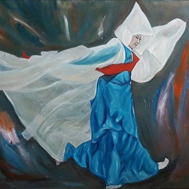 The dancer with a fluid veil – oil, 80×70 cm (2017)