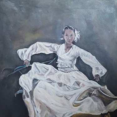 The dancer in white dress – acrylic, 50×70 cm (2016)