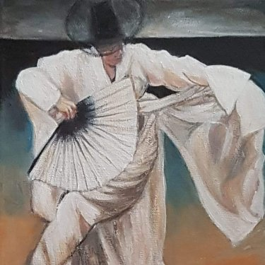 The dancing man at dawn – acrylic., 25X30 cm (2020)