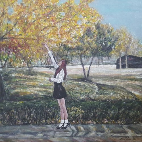 The girl at the Autumn season – acrylic, 40×40 cm (2017)