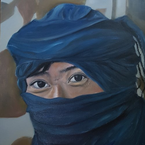 The most Korean of the Tuaregs, oil, 50×60 cm (2014)-Le plus Coréen des Tuaregs, huile