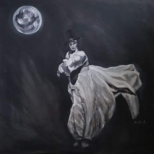 Dance under the full moon, acrylic, 60×60 cm (2018)