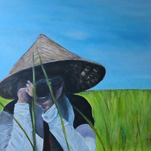 The Monk photographer – acrylic, 90×60 cm (2015)