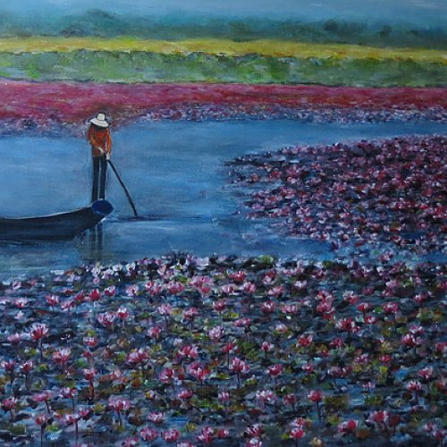 Field of Lotus Flowers – acrylic, 90×60 cm (2015)