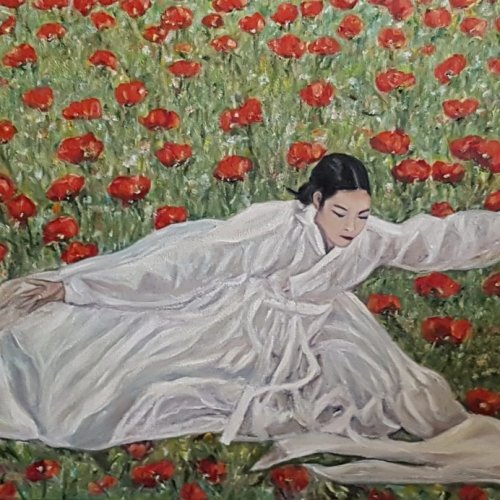 The dancer with poppies – oil, 70×50 cm (2017)