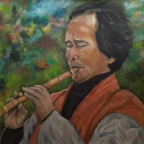 Sea Hong playing danso, acrylic, 60×60 cm (2018)