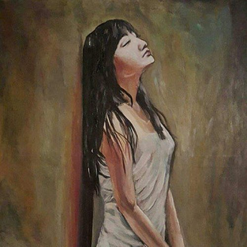 The girl in her thoughts … – acrylic, 90×70 cm (2015)